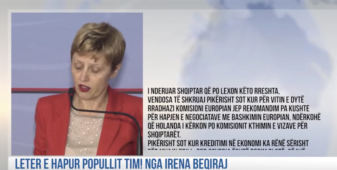 """Leter e hapur popullit tim! Nga Irena Beqiraj. """"Rama nuk eshte udheheqes, refuzoni votimet pa zgjedhje"""""""