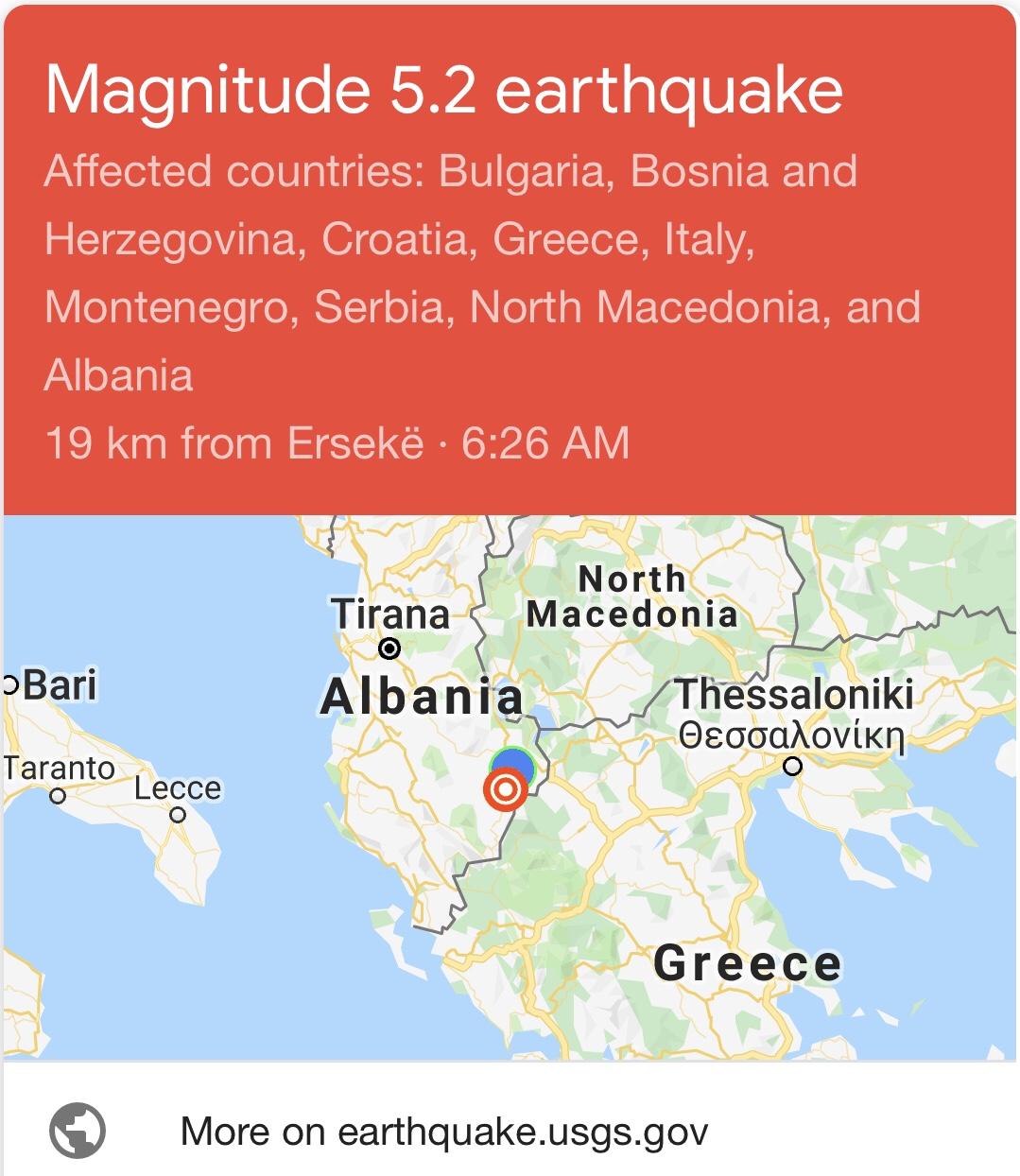 Lëkundje të forta tërmeti janë regjistruar rreth orës 6:30am në Shqipëri.