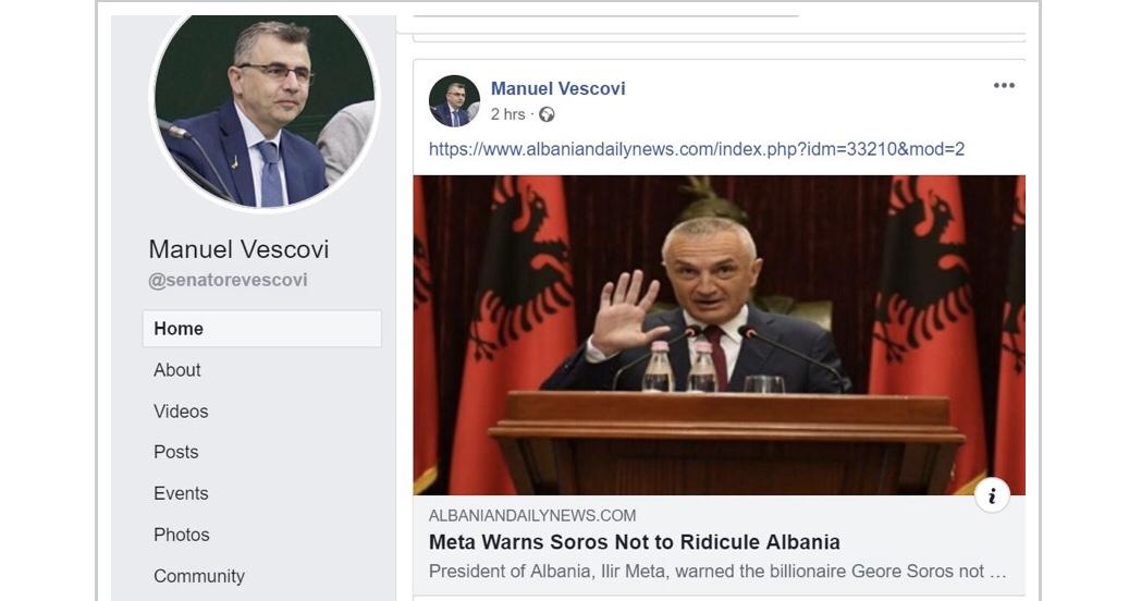 Zv. Presidenti i Këshillit të Europës i bën jehonë qëndrimit të Metës ndaj Sorosit