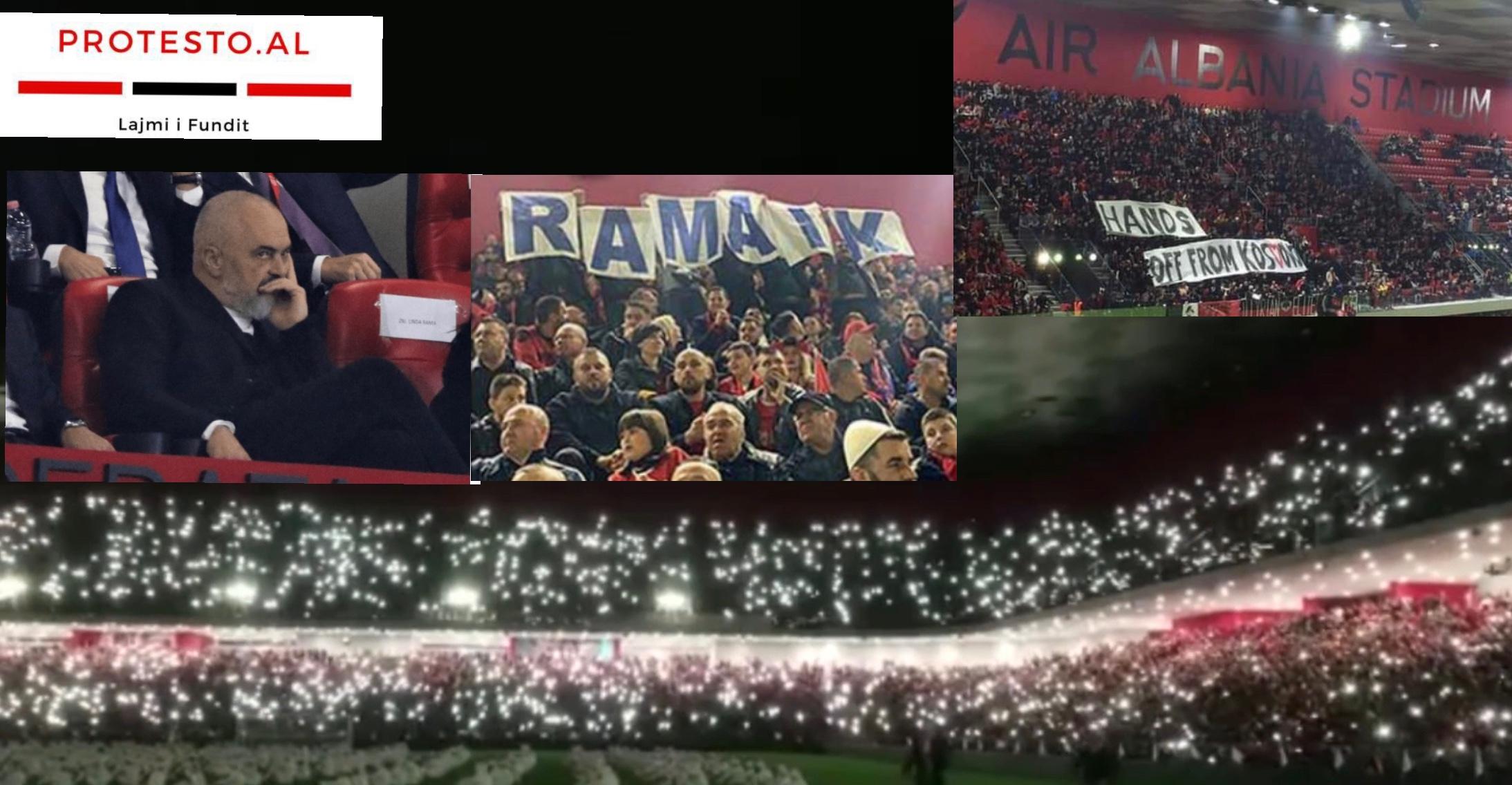 """Air Albania"" I gjithe stadiumi ne kembe 'Rama ik' ringjall shpresën kunder sistemit marksist"