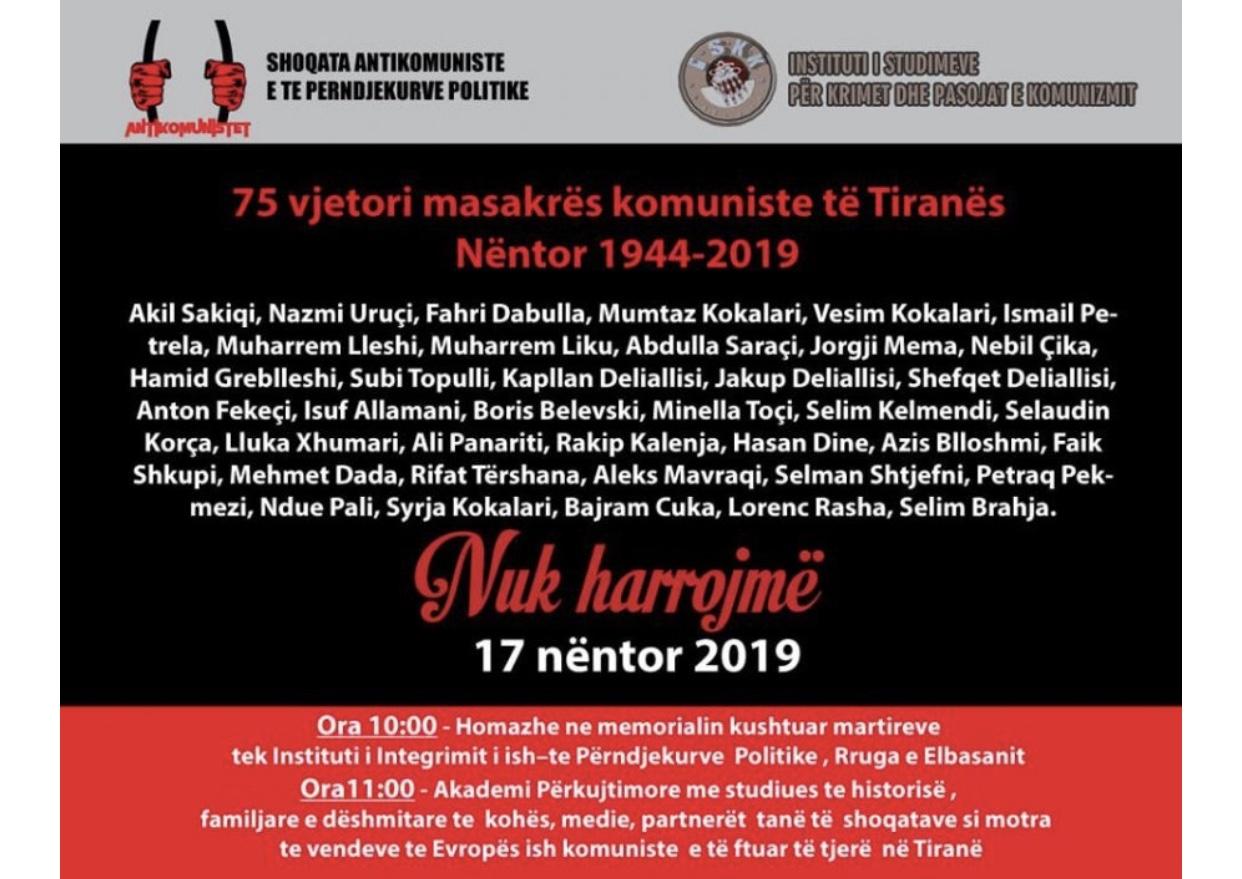 Homazhe dhe protestë/ Kujtohet nesër 75-vjetori i masakrës komuniste në Tiranë